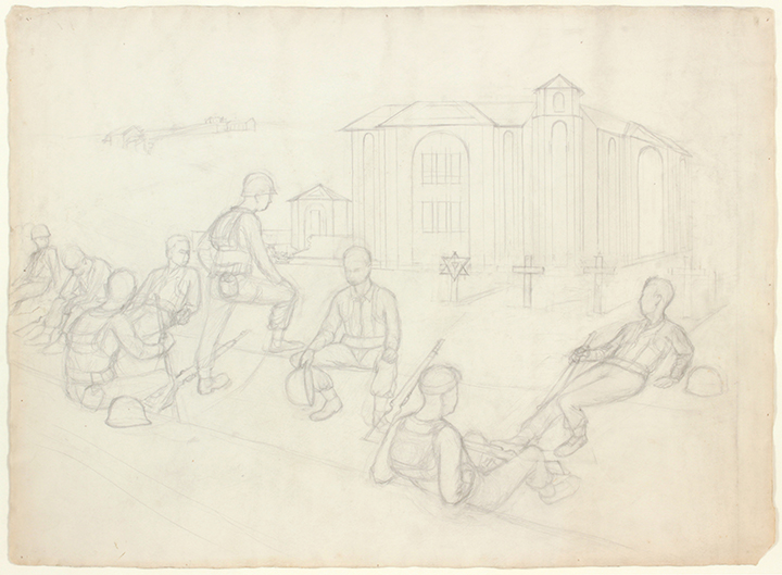 Resting Near Rome (Cemetary), 1945 Graphite on Paper 22.875 x 31.25