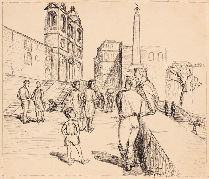 Soldiers in Rome (Spanish Steps), 1945 Ink on Paper 4 3/4 x 6 1/4