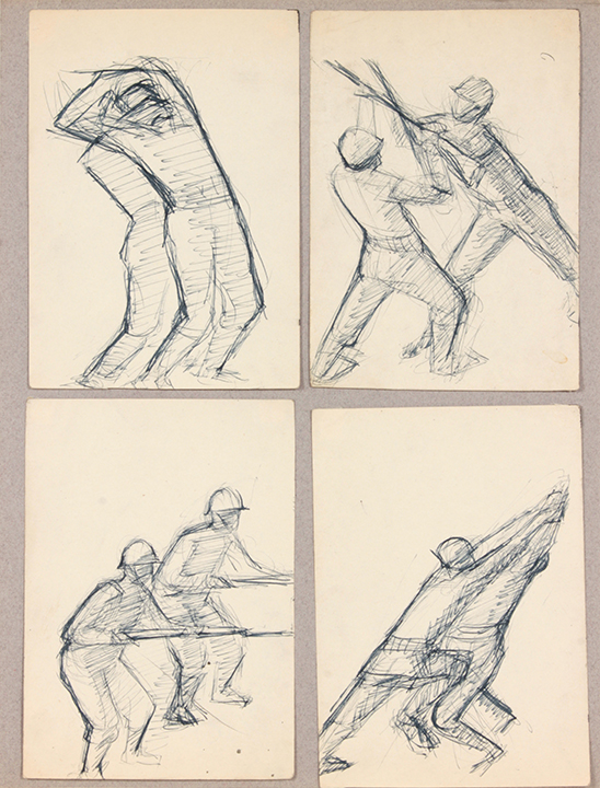 NT (Bayonette Training_4 Drawings), 1940's c Pen and Ink on Paper 14 x 10.50 in