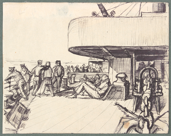 NT (On the Ship 1), 1940's c Pen and Ink on Paper 4.8125 x 6.125 in