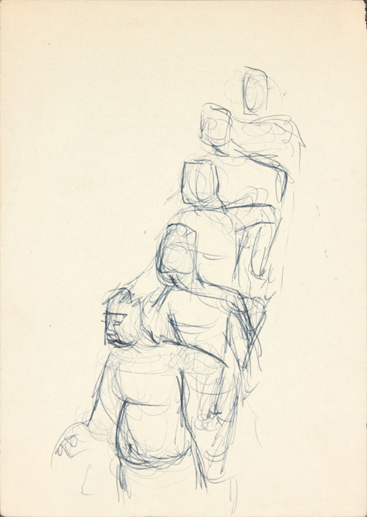 No Title, 1940's Pen and Ink on Paper, Drawing 6.75 x 4.8125 in