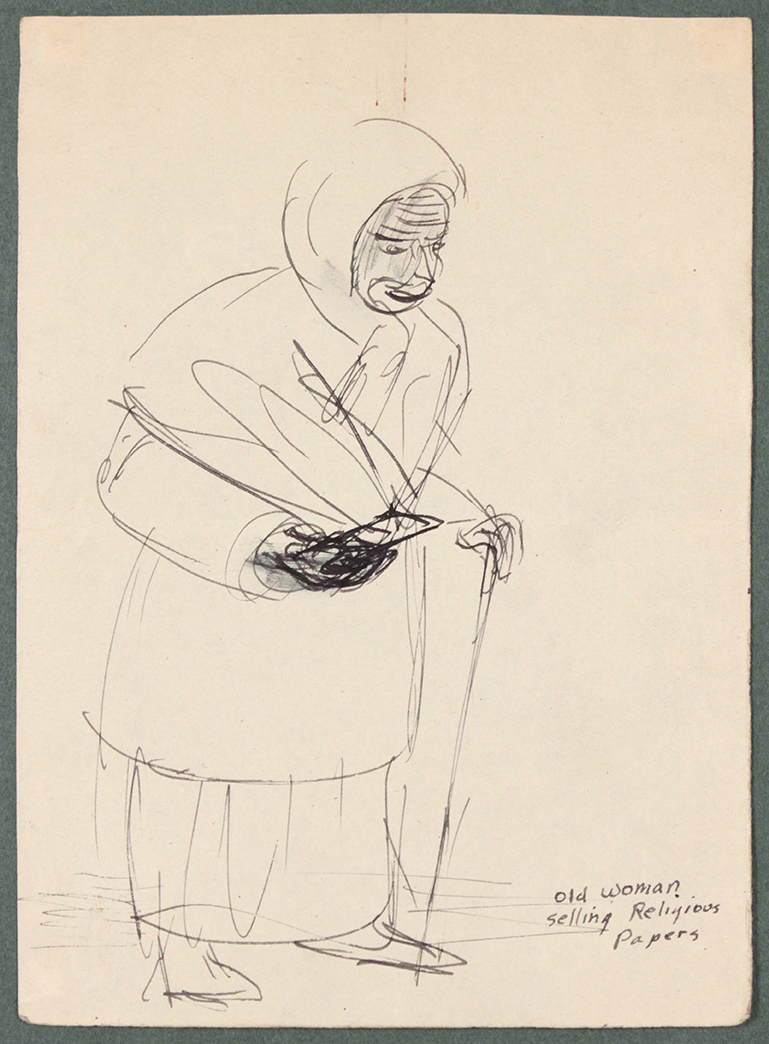 Caserta Italy, Old Woman Selling Religious Papers, 1944 Pen and Ink on Paper, Drawing 6.6875 x 4.8125 in