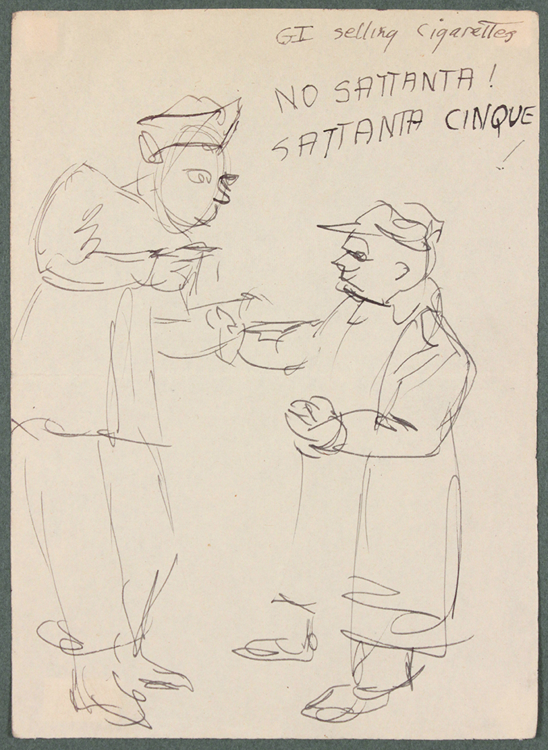 Caserta Italy, G.I. Selling Cigarettes, 1944 Pen and Ink on Paper, Drawing 6.6875 x 4.8125 in