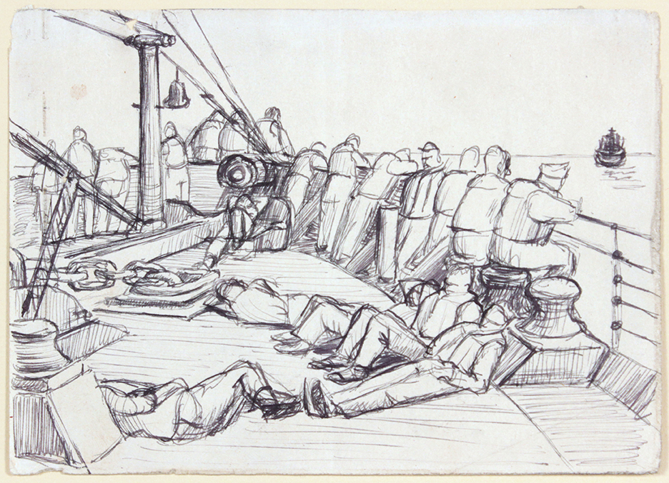 1944, Convoy to Italy III, Drawing, Pen and Ink on Paper, 4.75x6.625, PPS 1333.jpg