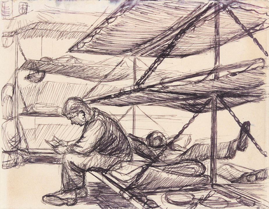 1944, Convoy to Italy V, Drawing, Pen and Ink on Paper, 4.8125x6.1875, PPS 1339.jpg