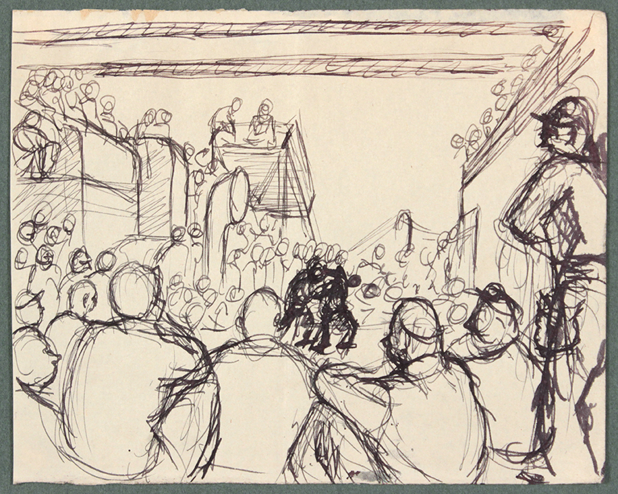 1944, Convoy to Italy VIII, Pen and Ink on Paper, Drawing, 4.8125x6.125, PPS 1366.jpg