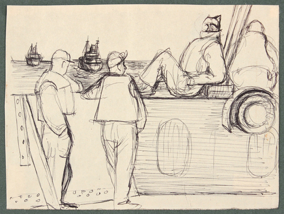 1944, Convoy to Italy X, Pen and Ink on Paper, Drawing, 4.6875x6.1875, PPS 1368.jpg