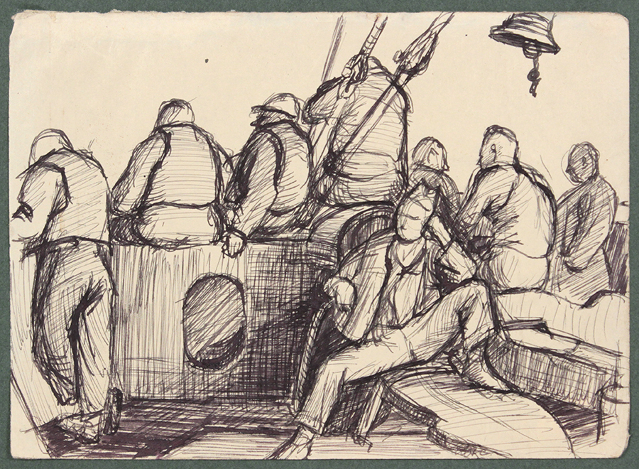 1944, Convoy to Italy XI, Pen and Ink on Paper, Drawing, 4.8125x6.6875, PPS 1369.jpg