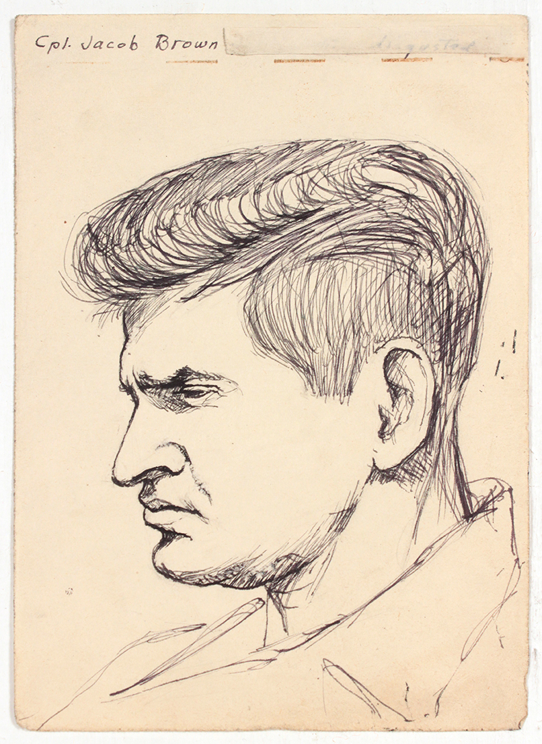 1944, Cpl. Jacob Brown, Pen and Ink on Paper, Drawing, 6.6875 x 4.8125, PPS 1373.jpg