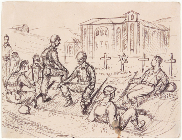 1944, Resting Near Rome (Cemetary), Pen and Ink on Paper, 4.8125x5.3125, PPS 831.JPG