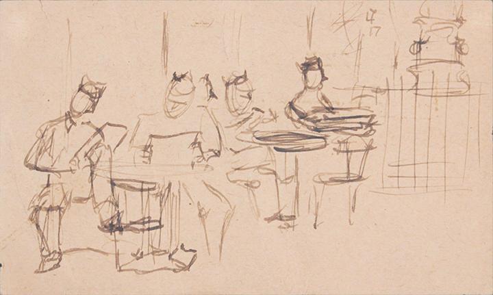 1944, Rome, Italy IV, Drawing, Pen and Ink on Paper, 3x5, PPS 1325.jpg