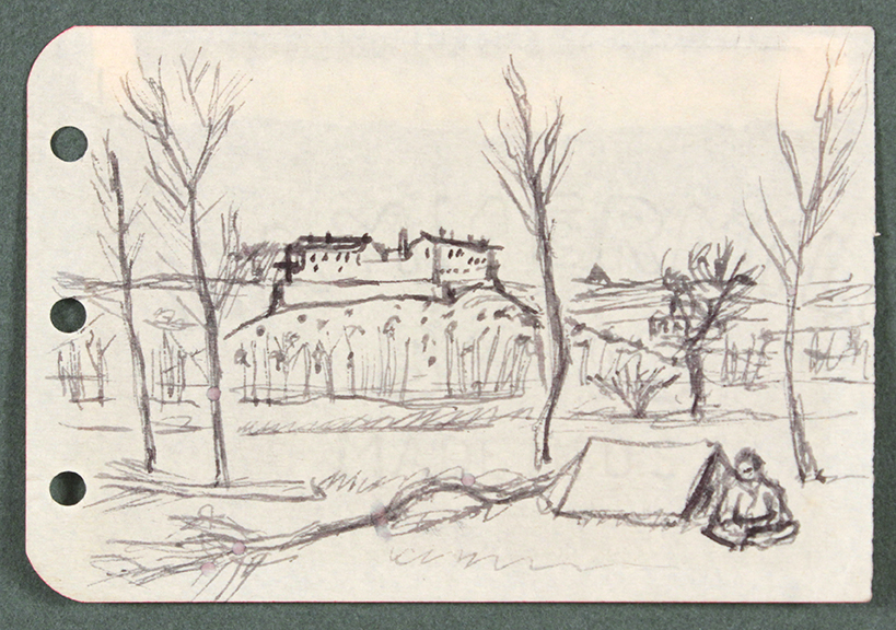 1944, Rome, Italy IX, Drawing, Pen and Ink on Paper, 2.50x3.6875, PPS 1330.jpg