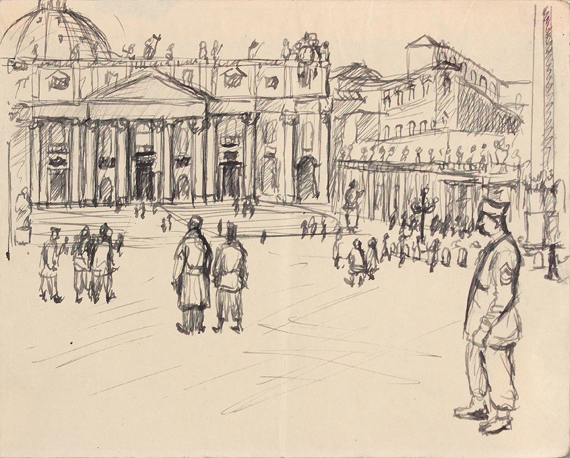1944, Rome, Italy XI, Pen and Ink on Paper, Drawing, 4.8125x6.0625, PPS 1347.jpg