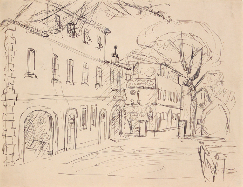 1944, Rome, Italy XV, Pen and Ink on Paper, Drawing, 8.0625x10.50, PPS 1379.JPG