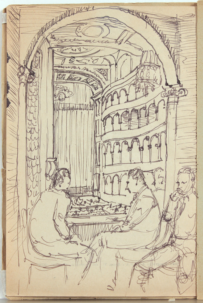1944, Rome, Italy XV, Teatro Reale Dello'pera Program, Pen and Ink on Paper, Drawing, 8.125x5.50, PPS  1381.JPG
