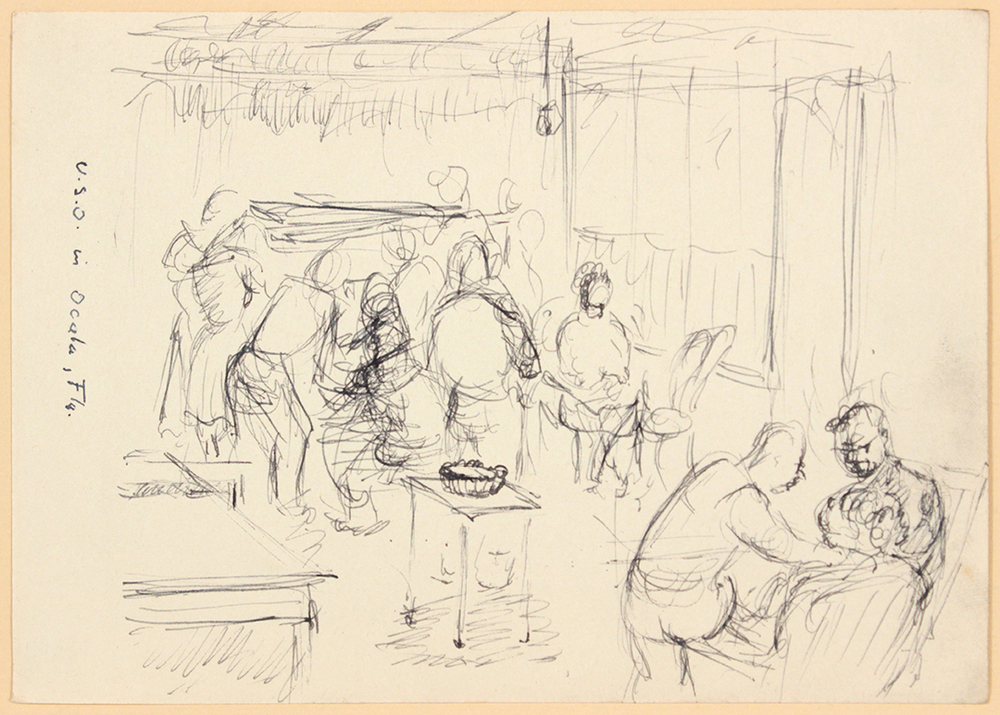 1944, Rome, Italy, U.S.O. in Ocala FLA, Pen and Ink on Paper,  Drawing, 4.75x6.75, PPS 1360.jpg