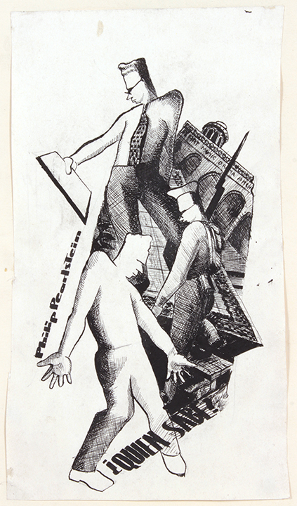 1940's c, Philip Pearlstein, ¿Quien Sabe?, Pen and Ink on Paper, 8x4.50, PPS 1450 .JPG