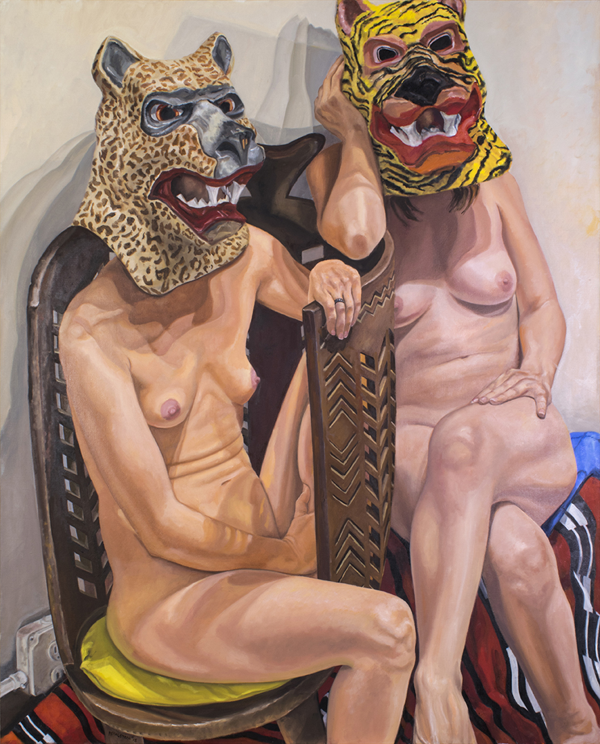 Two Models in Masks with African Chair, 2015 Oil on canvas 60 x 48 in
