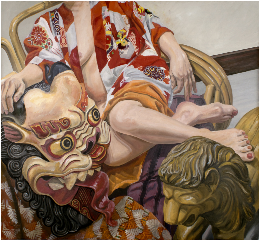 "Model with Indonesian Mask, 2015 Oil on canvas 36"" x 40"""