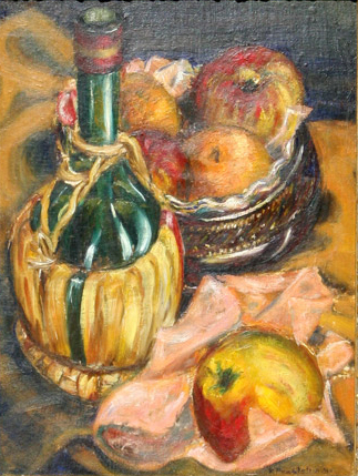 Still Life with Fruit and Chianti Bottle, 1940 Oil on board 16 x 12 in