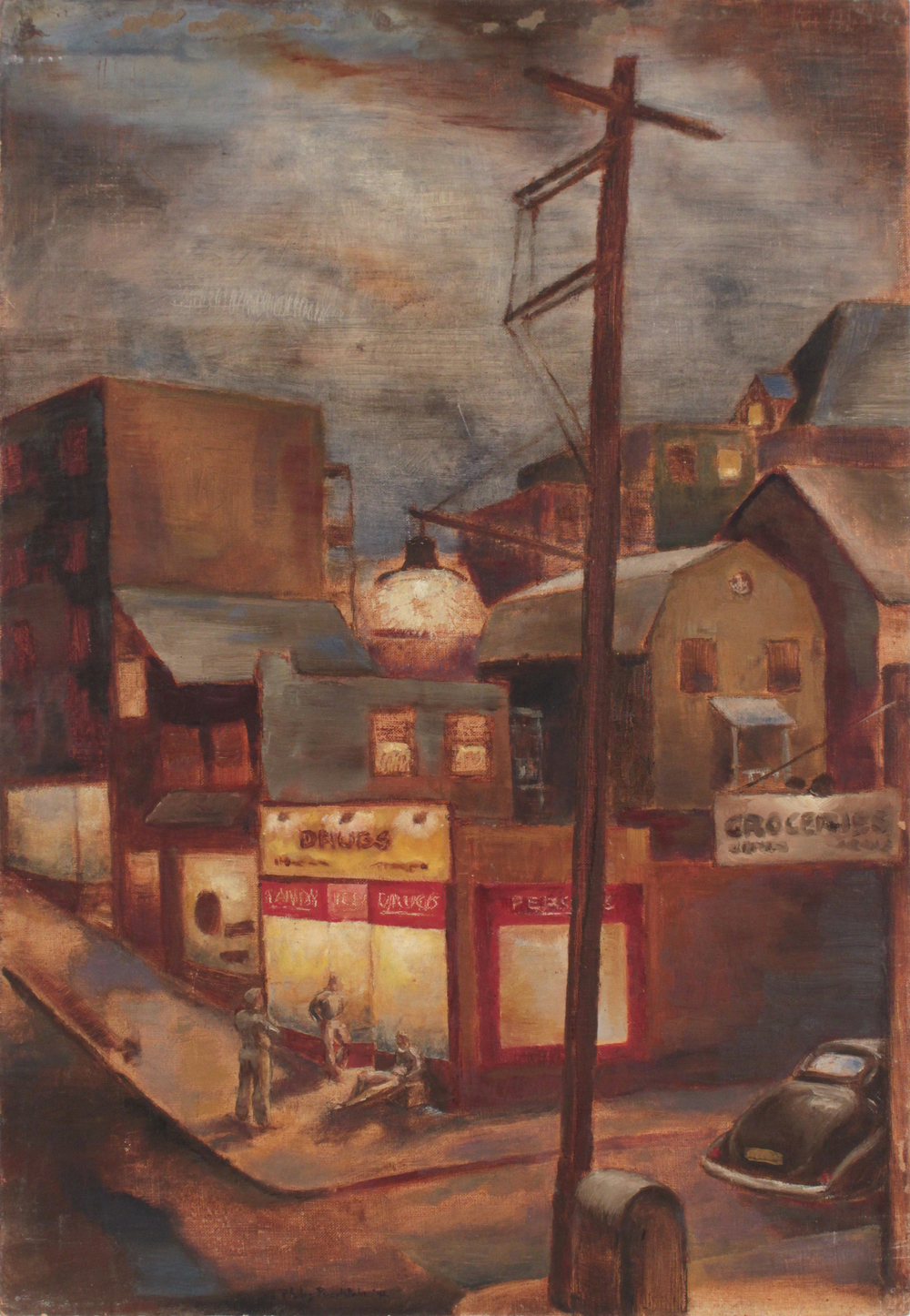 Street Corner in Pittsburgh, 1942 Oil on Board 24 x 16.50 in