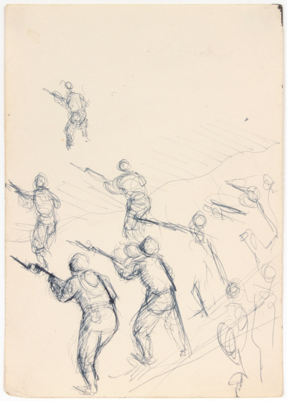 5. 1943 Summer, NT (Training Sodiers), Pen and Ink on Paper, 6.75x4.75, PPS 1529.jpg