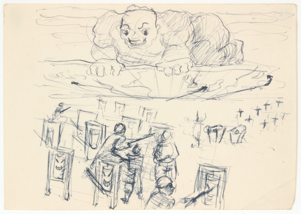2. 1943 Summer, Soldiers Training (Giant), Pen and Ink on Paper, 4.75x6.75, PPS 1526.JPG