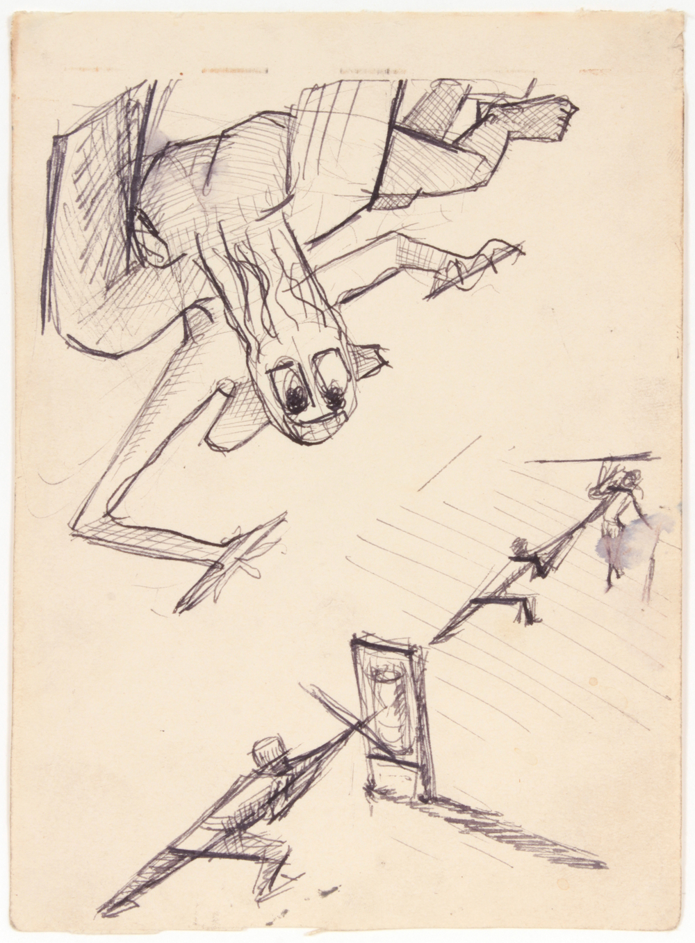 3. 1943 Summer, Angel of Death over Training Soldiers, Pen and Ink on Paper, 6.625x4.8125, PPS 1528.JPG