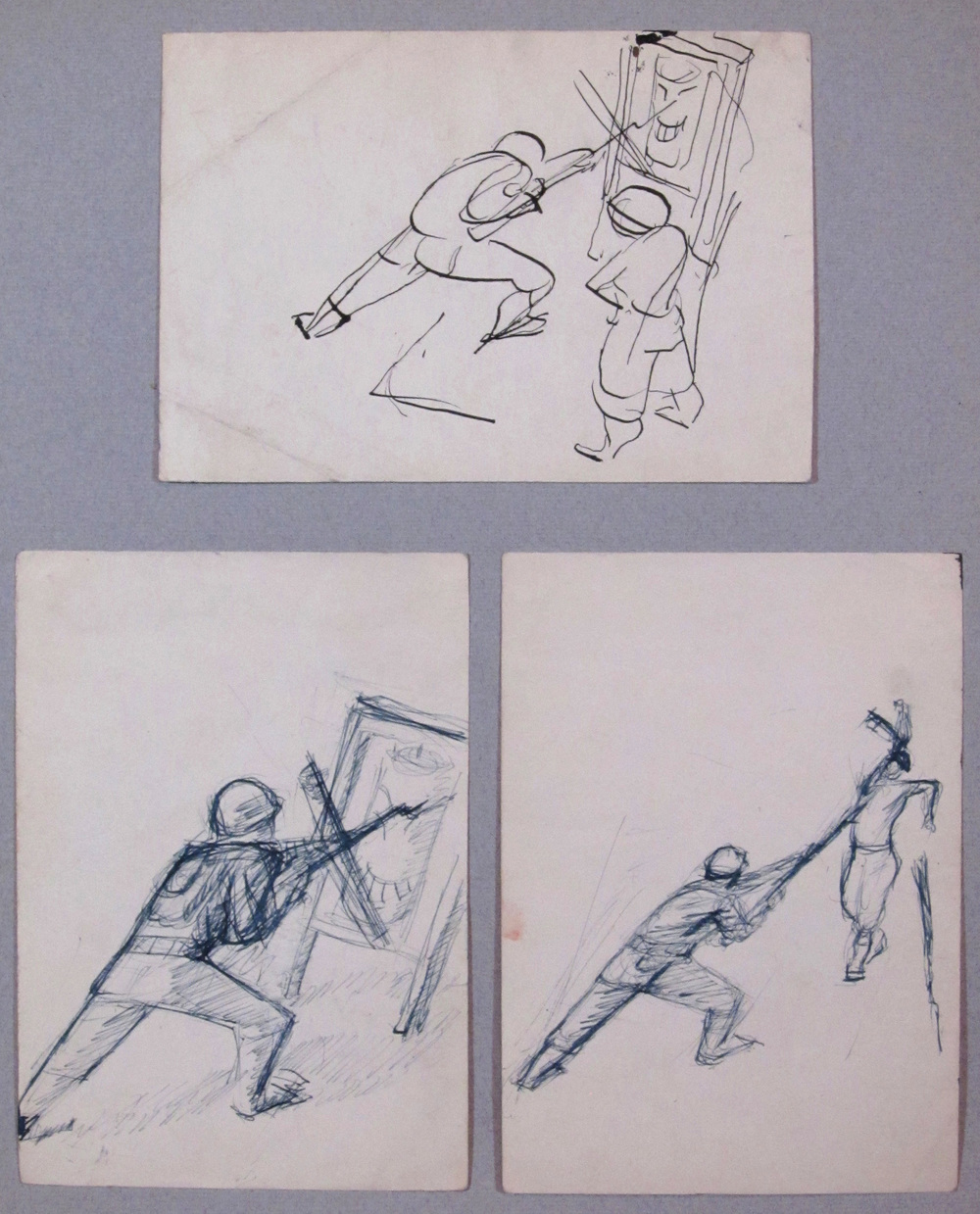 8. 1943 Summer, Bayonet Practice, drawing, 4.75 x 6.75 top 6.75 x 4.75 bottom.jpg