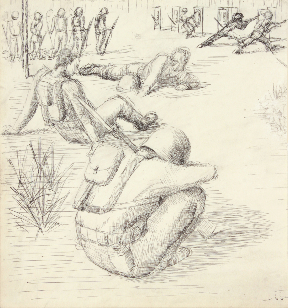 13. 1943-44 Fall:Winter, Training In Florida V, Pen and Ink on Paper, 8.875x8.25, PPS 1525.JPG
