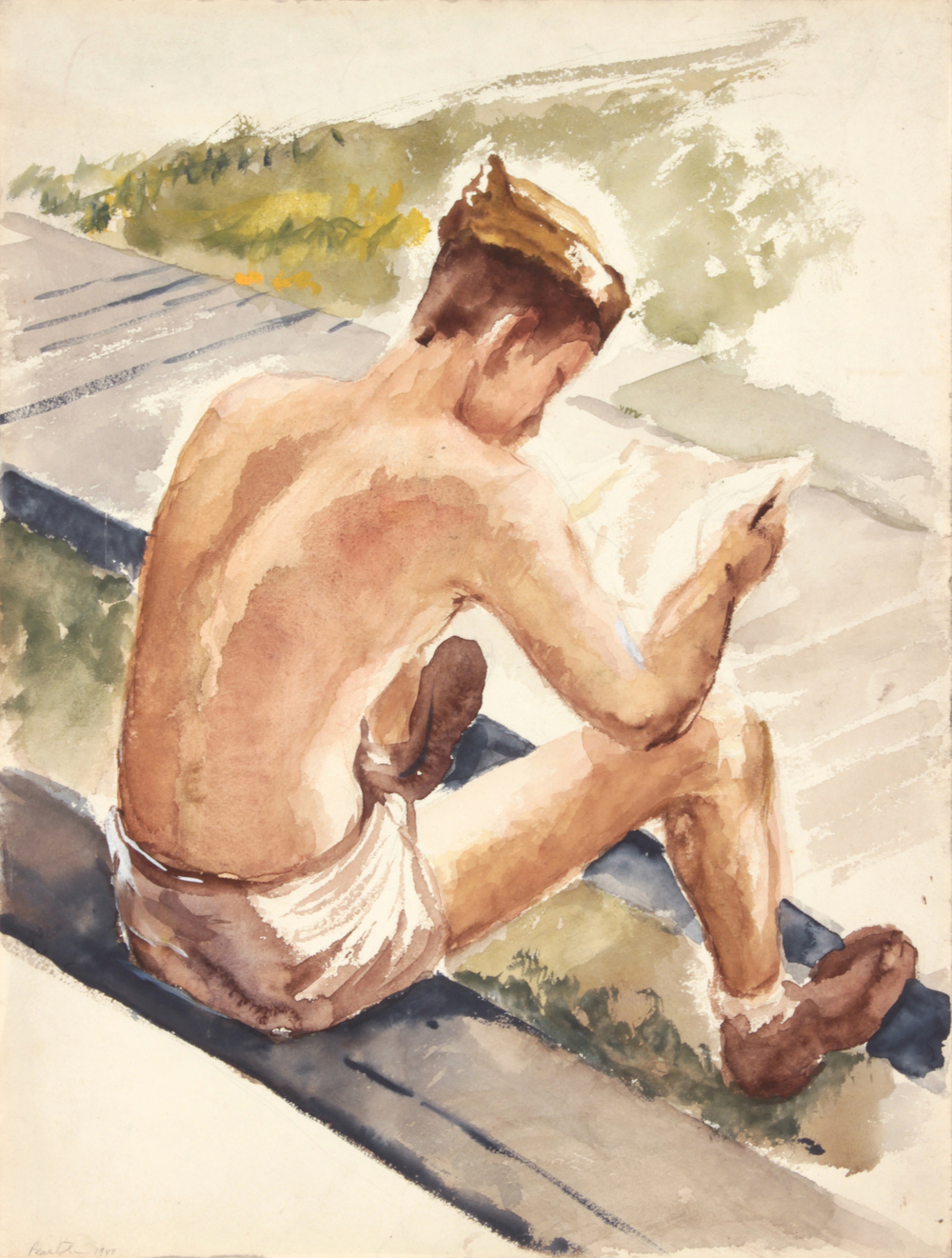 45. 1943-44 Winter, Training In Florida (Soldier Reading Letter), Watercolor on Paper, 16x12, PPS 1530.JPG