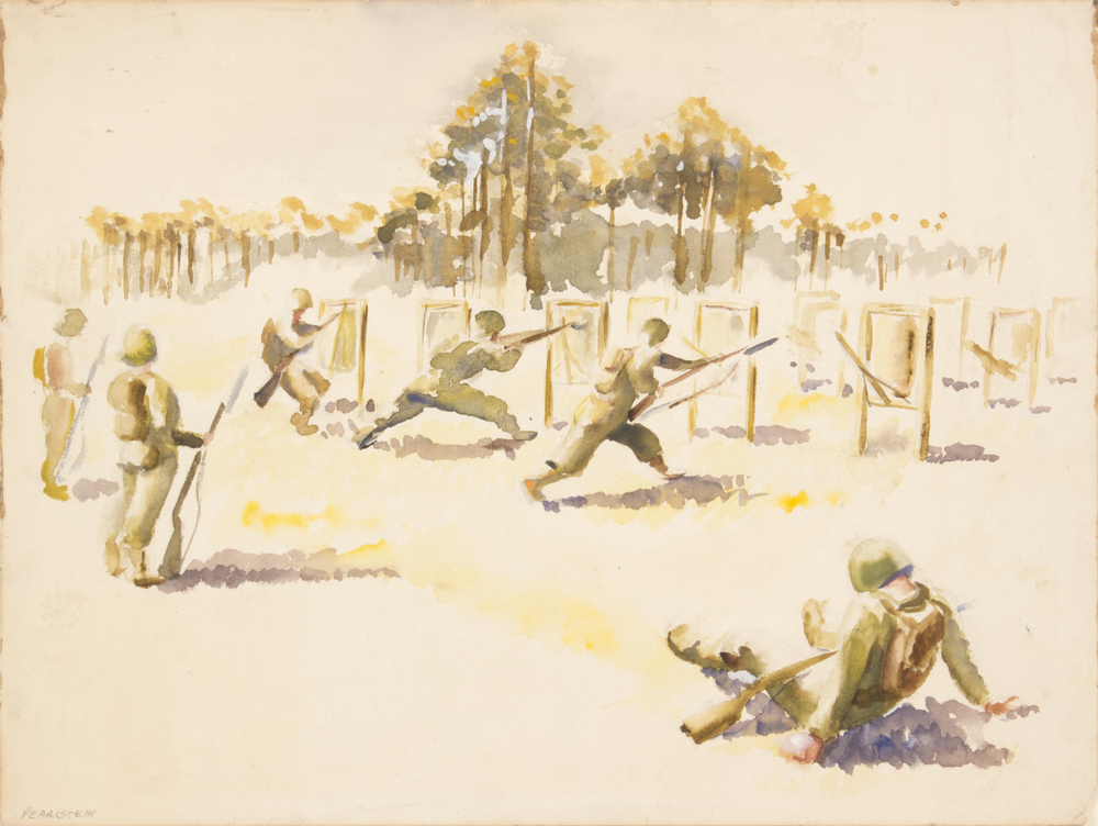 50. 1943 Summer, Training in Florida I (1 Soldier Sitting, 3 in Action, 2 Standing by), Watercolor on Paper, 12x16, PPS 1514.jpg