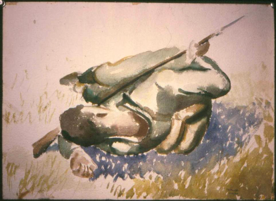 53.1 1943 Fall, Soldier Resting (Study for Soldiers Resting, Bayonet Practice), 9%22 x 14%22 (Missing).JPG