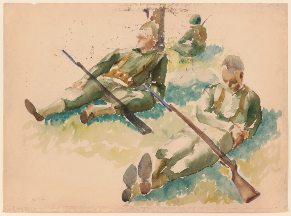 54. 1943 Summer, Training In Florida (3 Soldiers Resting), Watercolor on Paper, 15x20.50, PPS 1531.JPG