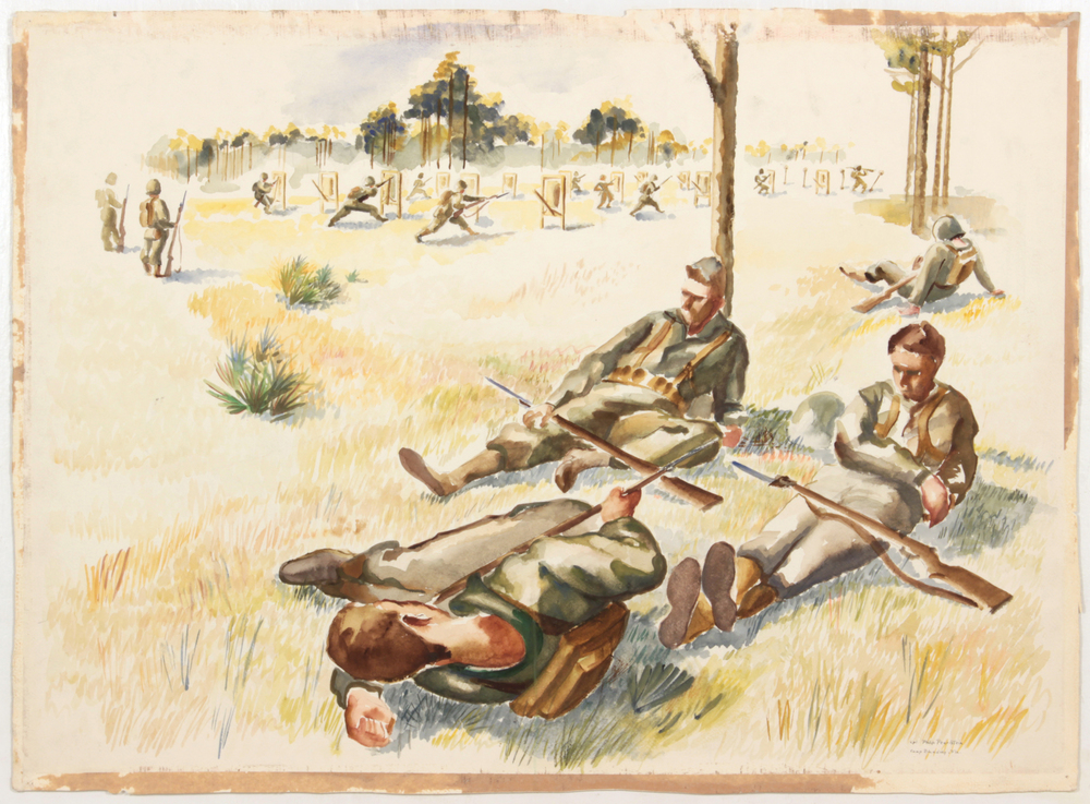 55. 1943-44 Fall:Winter, Training in Camp Blanding, Florida (Soldiers resting, Bayonet Practice),Watercolor on Paper, 22.50x30.75, PPS1532.JPG