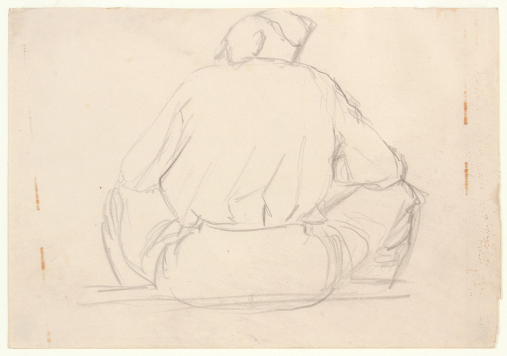 57. 1943-44 Fall:Winter, Beer Garden (Camp Blanding, Florida Soldier's Back, Sitting), Graphite on Paper, 4.75x6.75, PPS 1504.JPG
