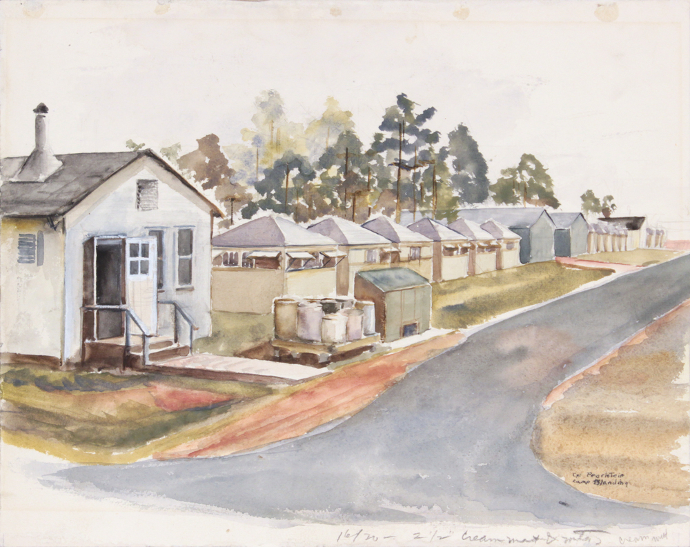 56. 1943-44 Fall:Winter, Camp Blanding, Training in Florida, Watercolor, 12x15.125, PPS 1341.JPG