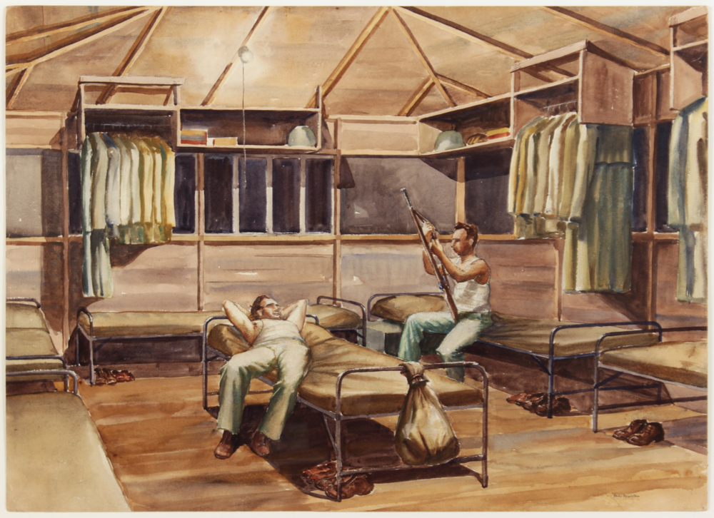 59. 1943, Two Soldiers in Hut, Camp Blanding [#28], Watercolor on Paper, 21 1:4x29 1:2, PPS819.JPG
