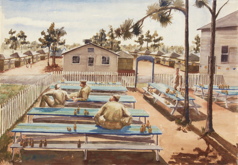 58. 1943-44 Fall:Winter, Beer Garden (Camp Blanding, Florida),Watercolor on Paper, 21x30.125, PPS1533.JPG