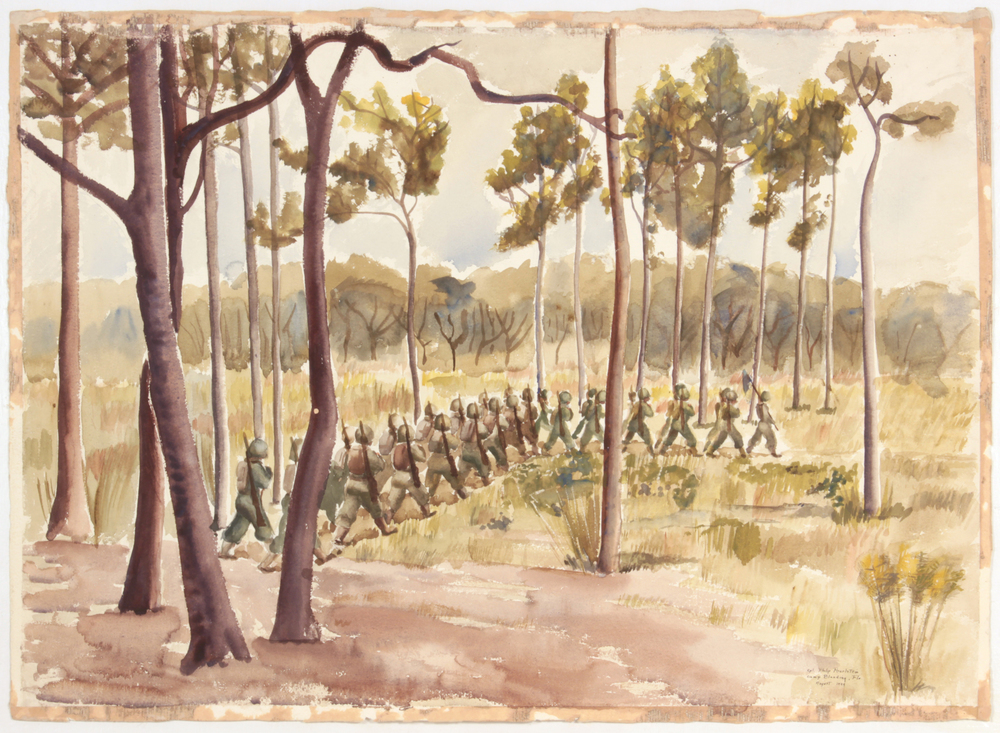 62. 1943-44 Fall:Winter, Training in Florida, Camp Blanding Fla (Soldiers Marching among Trees), Watercolor on Paper, 23x31, PPS 1521.JPG