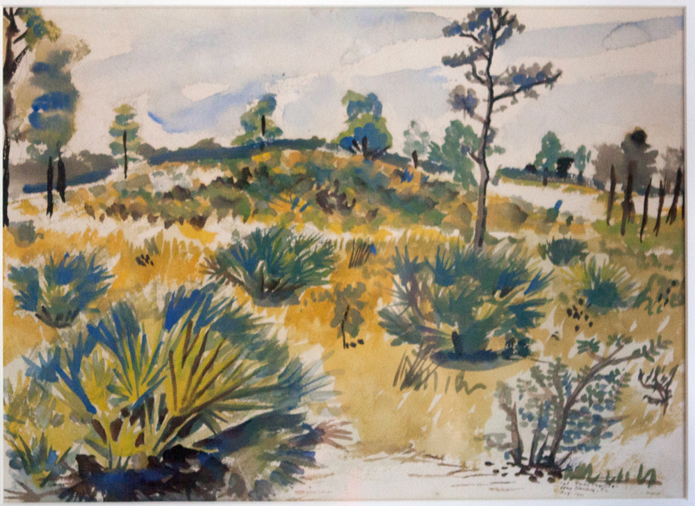 63.1 1943, Skirmish Target Practice, Camp Blanding, Florida, Watercolor on Paper, Col. Selma Mellinger.jpg