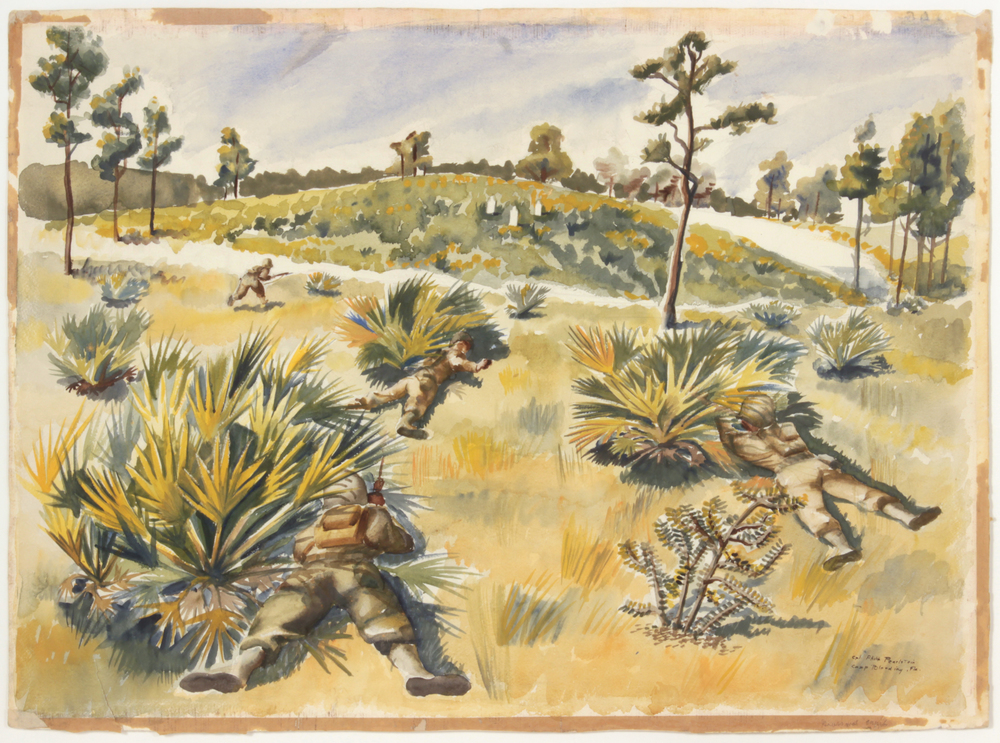 64. 1943, Skirmish Target Practice, Camp Blanding, Florida, Watercolor on Paper, 22 3:4x31, PPS818.JPG
