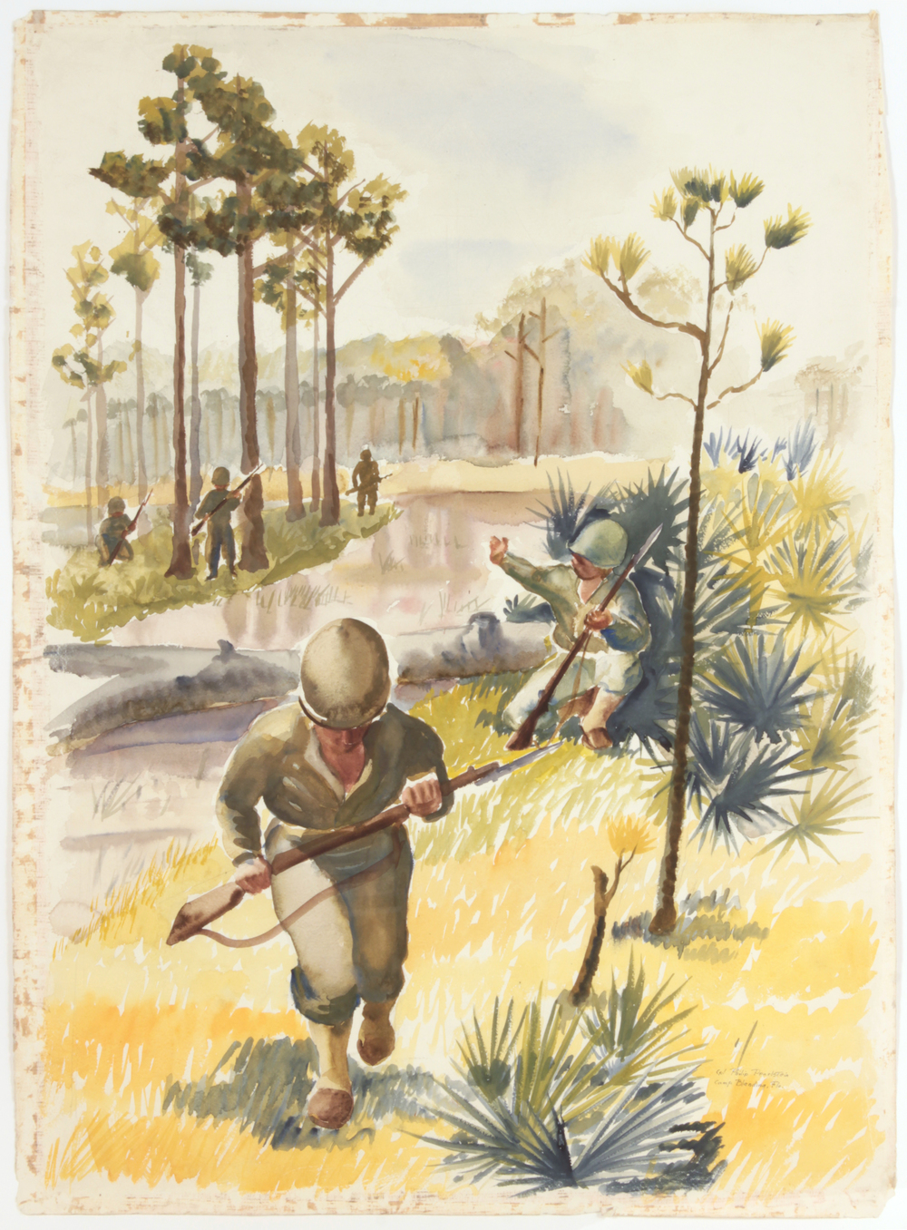 66. 1943, Training in Florida, Watercolor on Paper, 31x22 3:4, PPS815.JPG