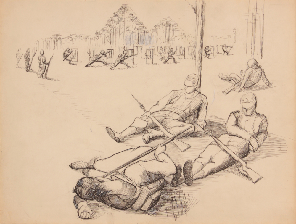 53. 1943 Fall, Soldiers Resting (Study for Bayonet Practice), Pen and Ink on Paper, Drawing, 10.6875x13.9375, PPS 1518.JPG