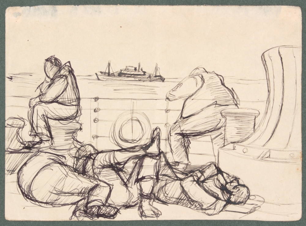 70. 1944 Summer, NT (On the Ship 2), Pen and Ink on Paper, 4.8125x6.625, PPS 1470.JPG