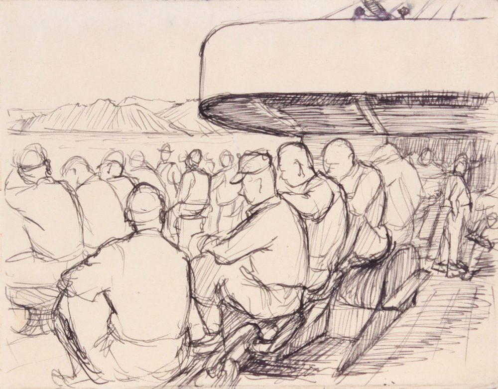 86. 1944 Summer, Convoy to Italy II, Drawing, Pen and Ink on Paper, 4.8125x6.125, PPS 1332.JPG