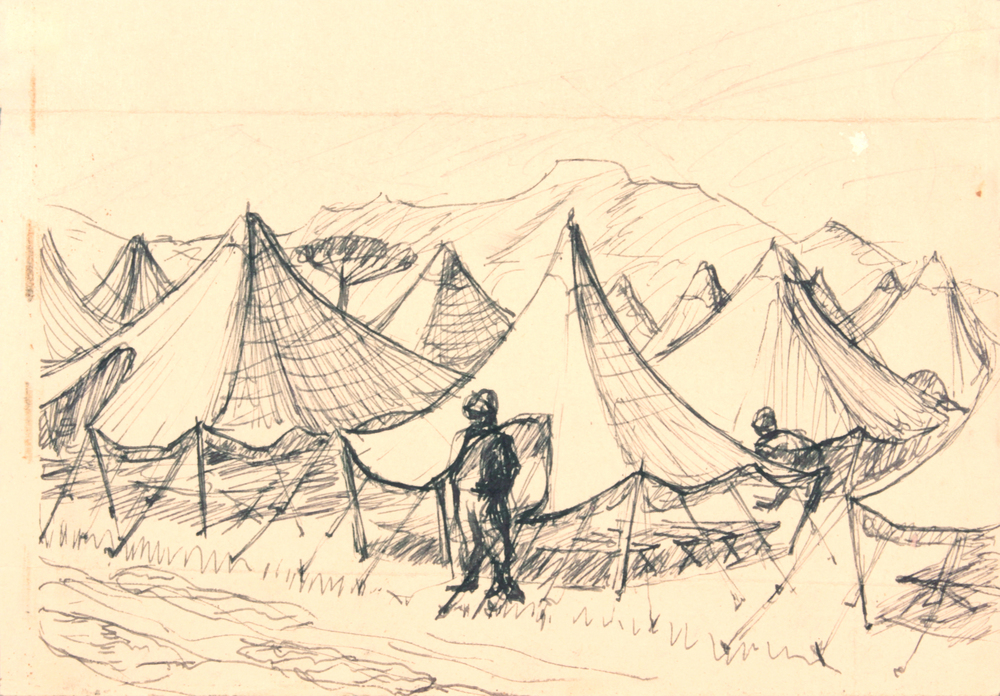 88. 1944 Winter, Caserta, Italy VIi (Tents), Pen and Ink on Paper, 4.50x6.3125, PPS 1523.JPG