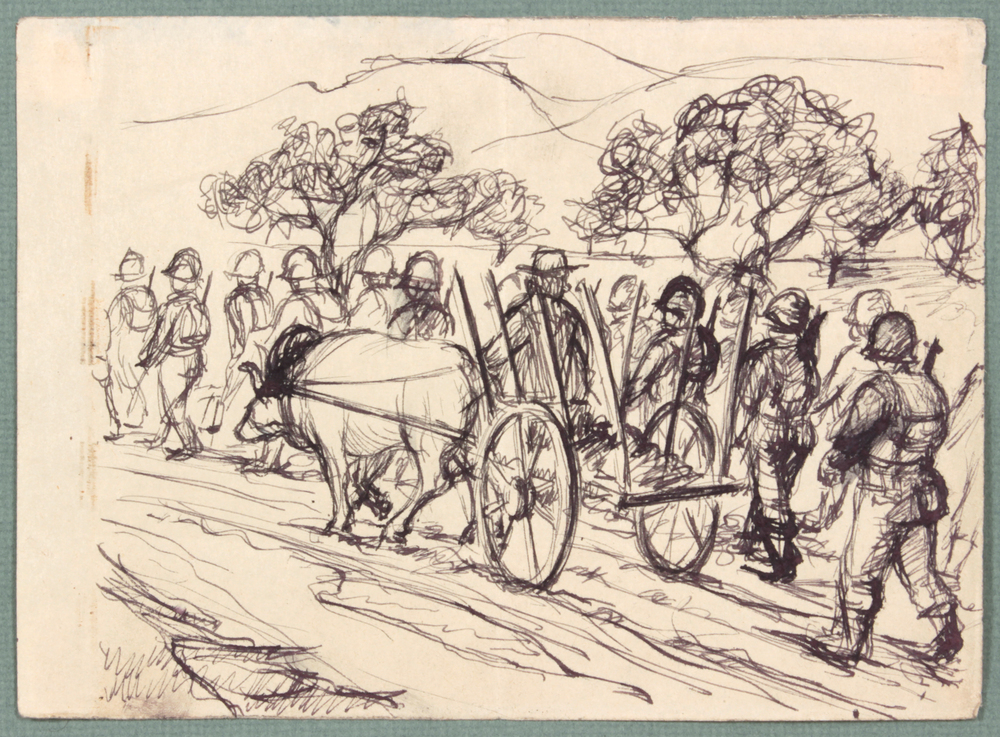 89. 1944 Fall, NT (Ox Cart Caserta, Italy), Pen and Ink on Paper, 4.8125x6.125, PPS 1473.JPG