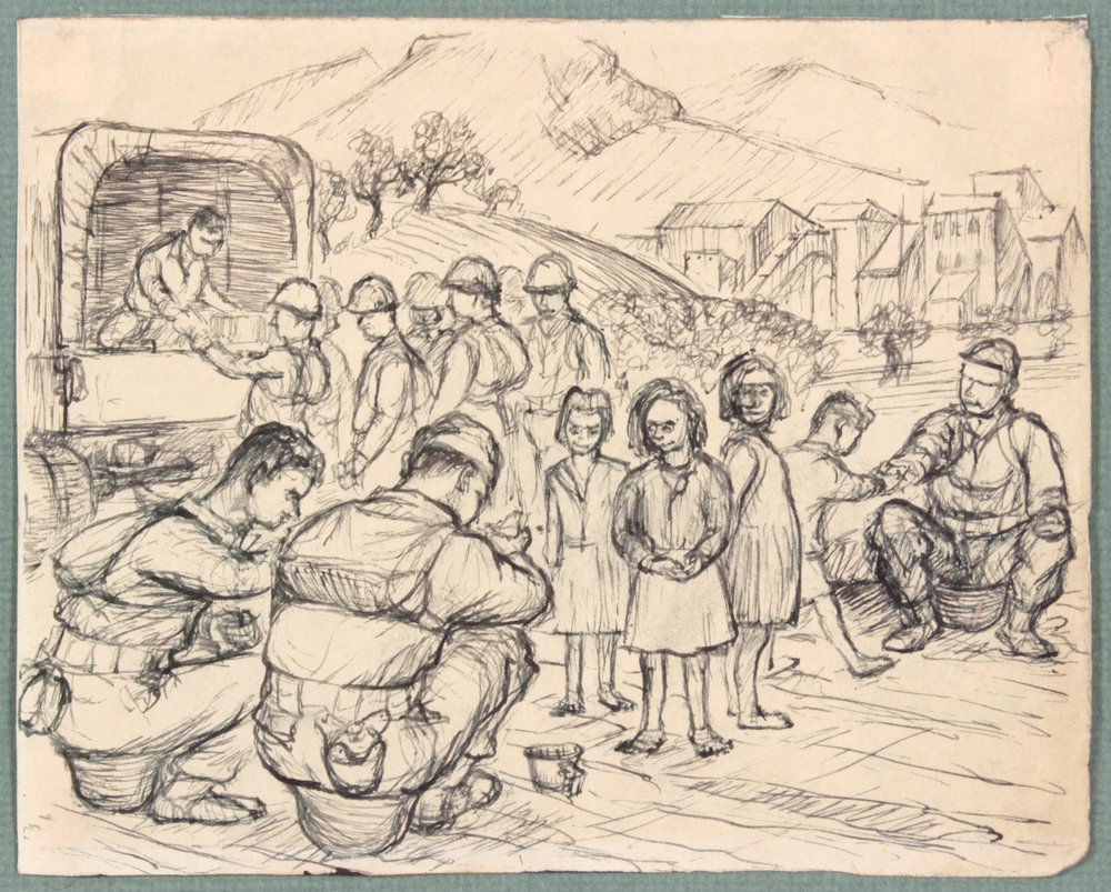 90. 1944 Fall , NT (Sitting on Helmets), Pen and Ink on Paper, 4.8125x6.0625, PPS 1474.JPG