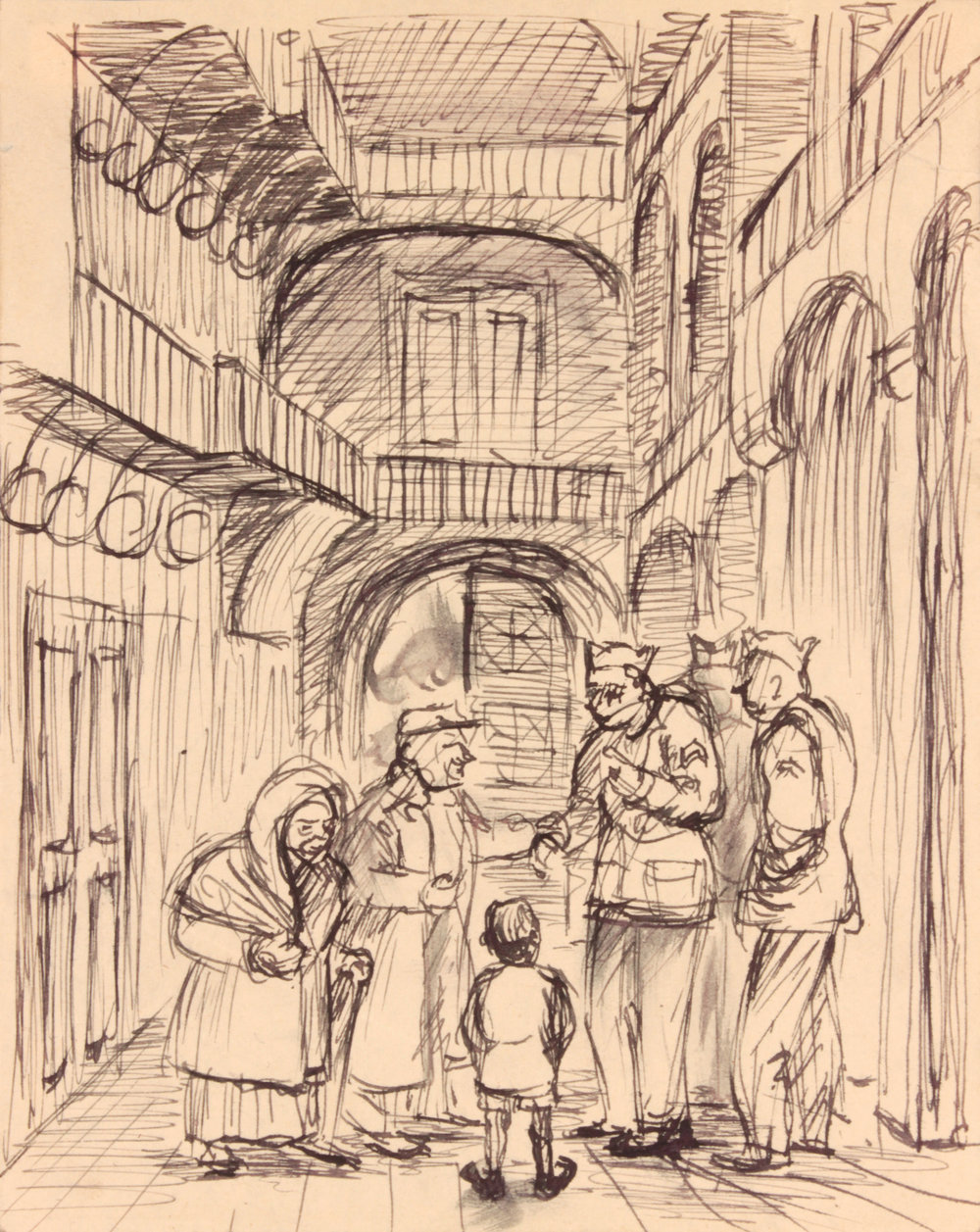 96. 1944 Winter, Caserta, Italy VI (Beggars and Soldiers), Pen and Ink on Paper, 6.125x4.8125, PPS 1522.JPG